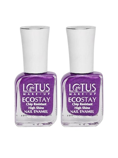 Lotus Herbals Set of 2 Ecostay Purple Dazzle Nail Enamel E50