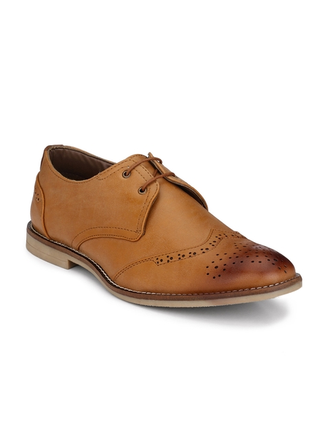Guava Men Tan Brown Formal Brogues
