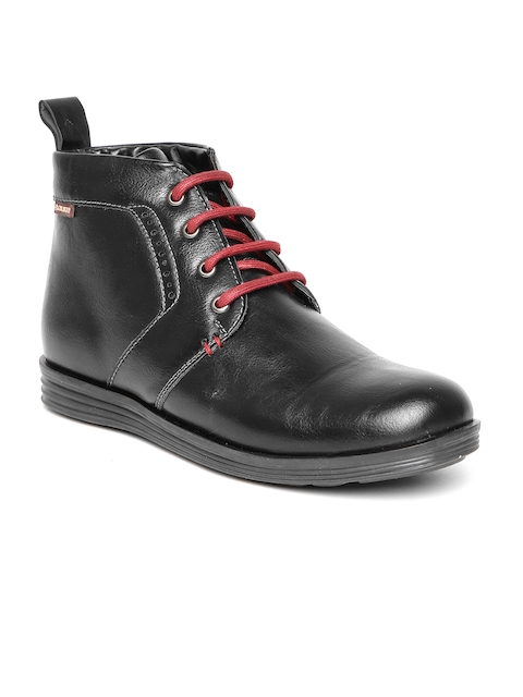 Duke Men Black Solid Mid-Top Flat Boots