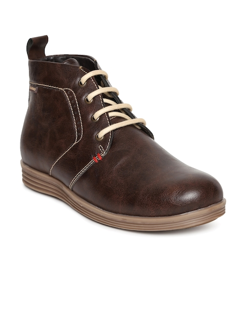 Duke Men Brown Solid Mid-Top Flat Boots