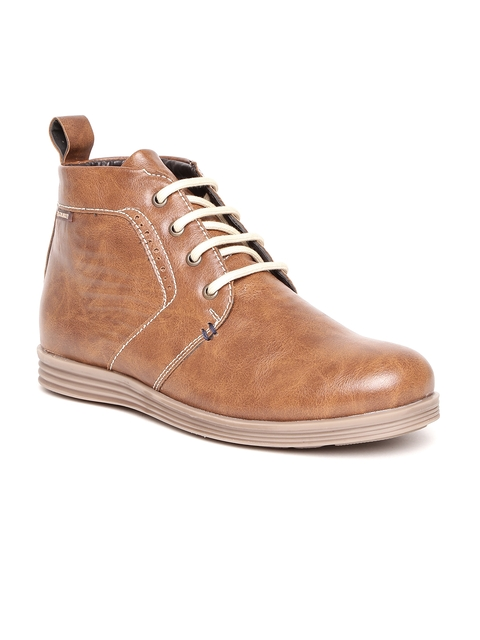 Duke Men Tan Brown Solid Mid-Top Flat Boots