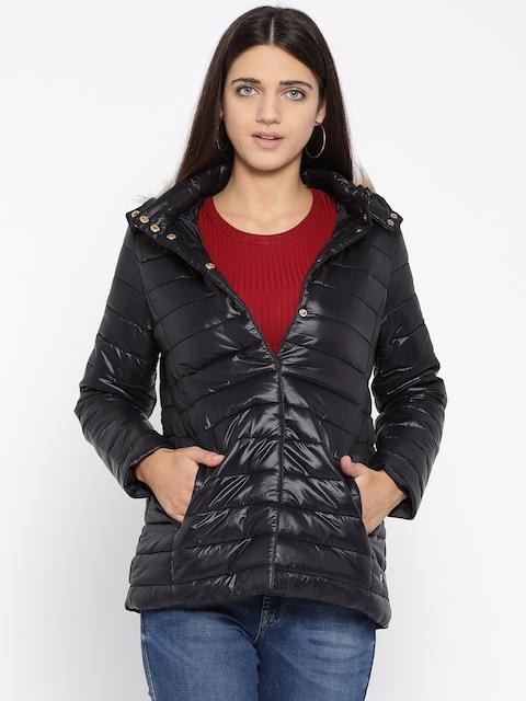 U.S. Polo Assn. Women Women Black Solid Hooded Puffer Jacket