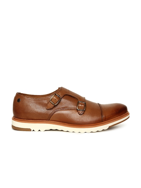Jack & Jones Men Tan Brown Leather Monks