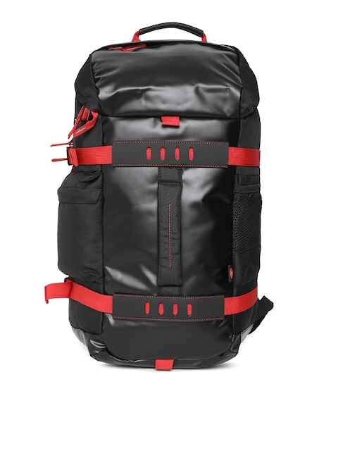 HP Unisex Black & Red Solid Backpack