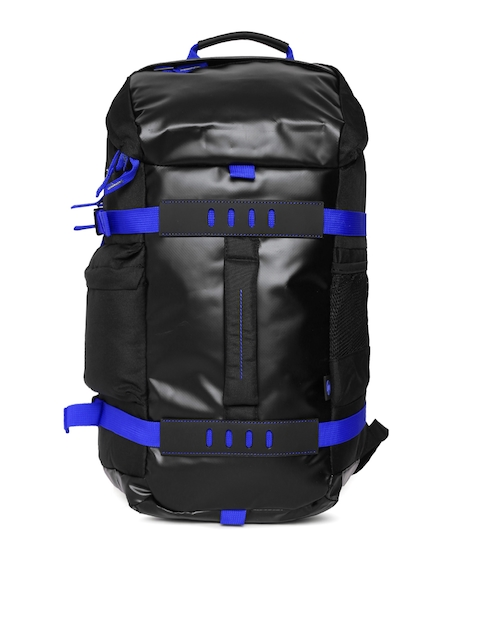 HP Unisex Black & Blue Solid Backpack