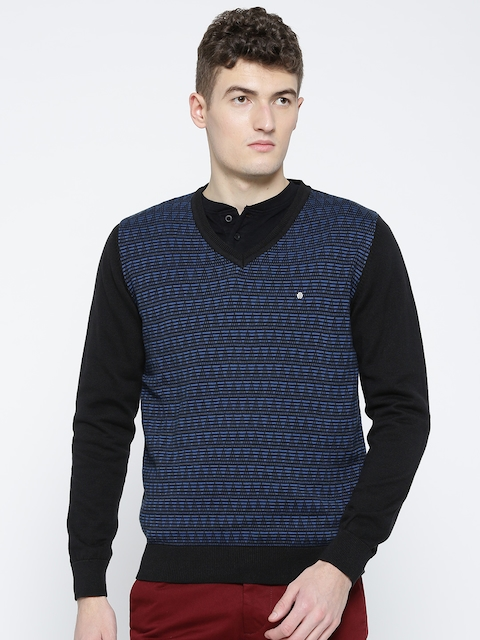 Blackberrys Men Black & Blue Self-Design Sweater