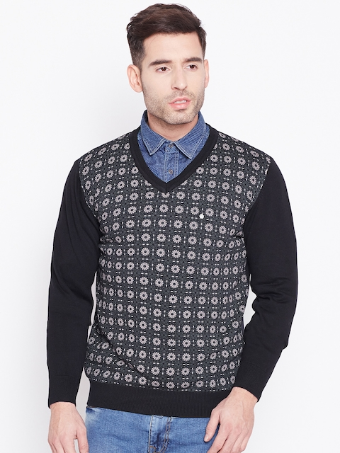 Blackberrys Men Black & Grey Self Design Sweater