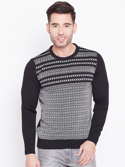 Blackberrys Men Black & Off-White Self-Design Sweater