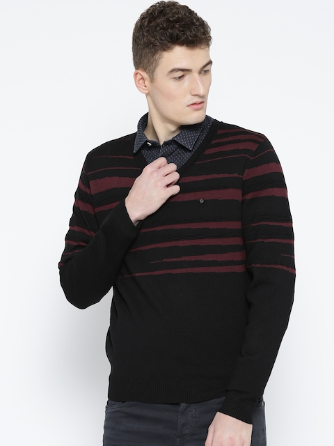 Blackberrys Men Black & Maroon Striped Sweater
