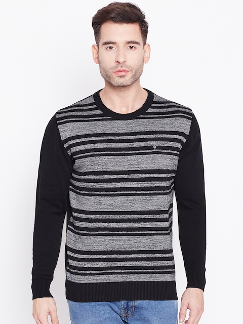 Blackberrys Men Black & Grey Melange Striped Pullover