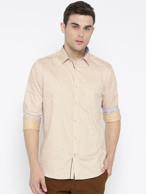 Blackberrys Men Beige Slim Fit Self Design Casual Shirt