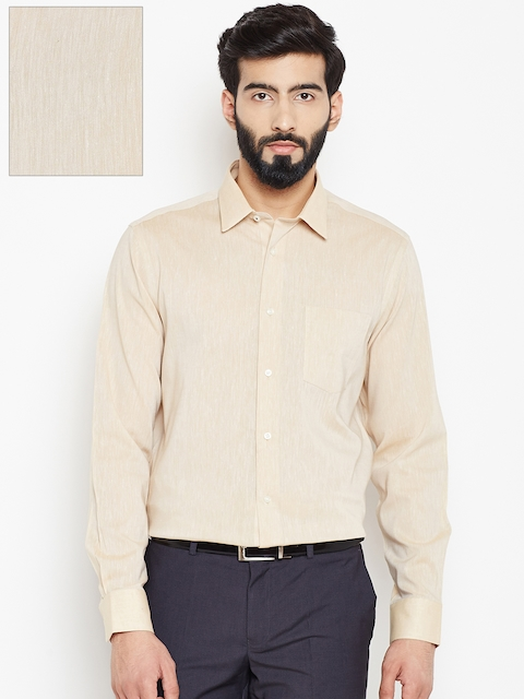 Blackberrys Men Beige Solid Formal Shirt