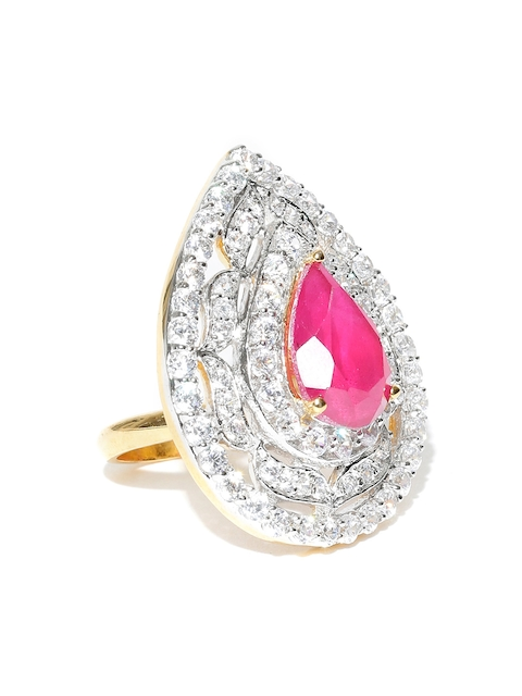 Spargz Pink & Gold-Toned Ruby CZ Stone-Studded Ring