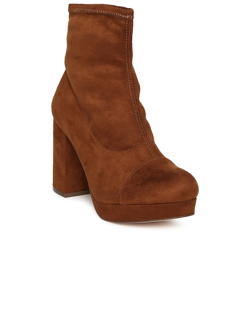 FOREVER 21 Women Tan Brown Solid Heeled Boots