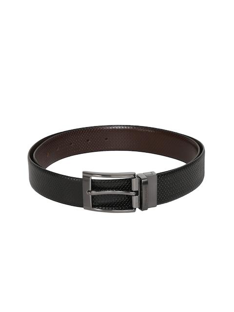 Peter England Men Black & Brown Textured Belt