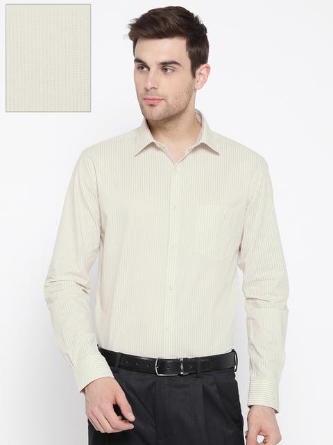 Park Avenue Men Beige Slim Fit Self-Design Formal Shirt