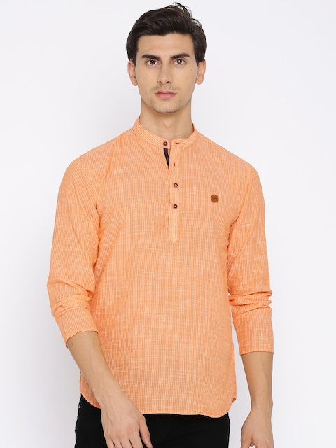 Freehand Men Orange Striped Straight Kurta  available at myntra for Rs.329