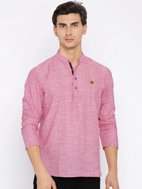 Freehand Men Pink Striped Straight Kurta  available at myntra for Rs.329