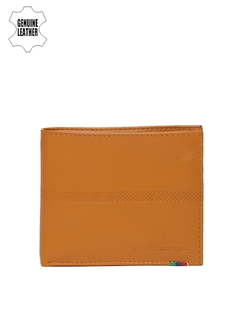 Peter England Men Tan Brown Genuine Leather Two Fold Wallet
