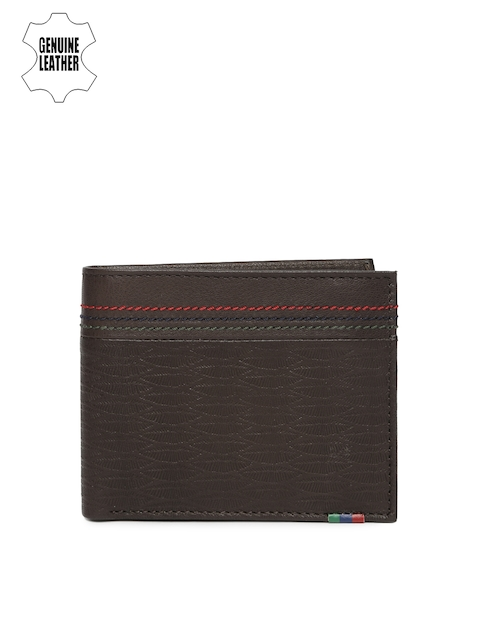 Peter England Men Brown Textured Two Fold Wallet