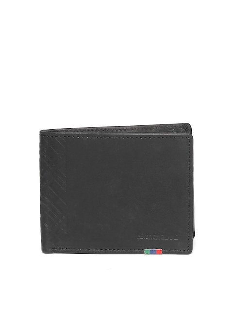 Peter England Statements Men Black Solid Genuine Leather Two Fold Wallet