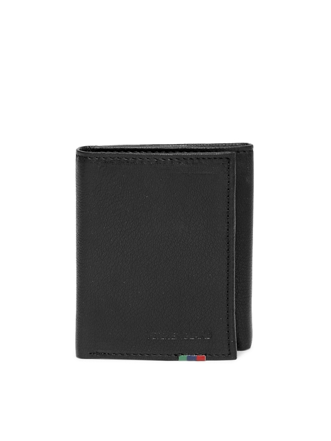 Peter England Men Black Genuine Leather Three Fold Wallet