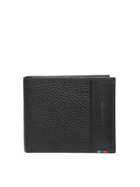 Peter England Men Black Genuine Leather Two Fold Wallet
