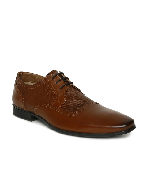 Ruosh Work Men Tan Brown Textured Genuine Leather Semiformal Shoes