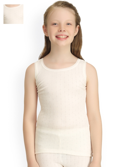 Kanvin Girls Pack of 2 Off-White Sleeveless Thermal Tops