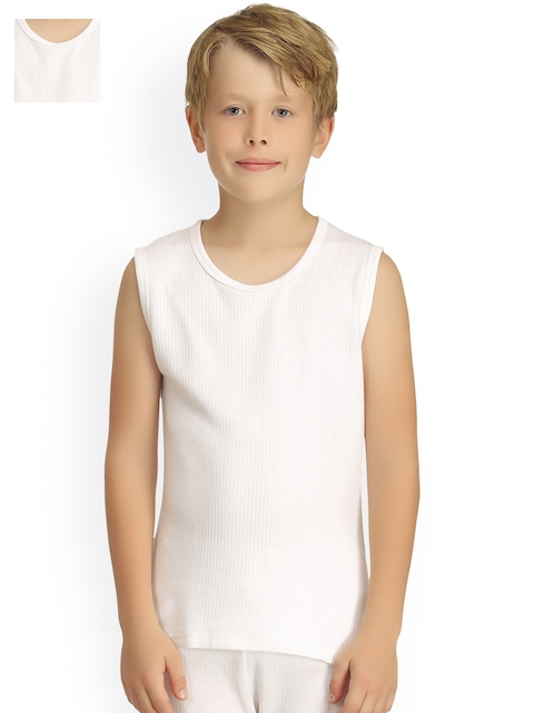 Kanvin Boys Pack of 2 White Sleeveless Thermal T-shirts