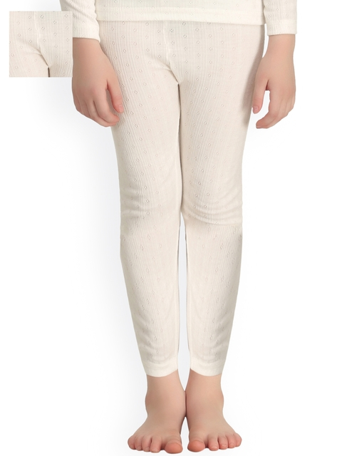 Kanvin Girls Pack of 2 Off-White Thermal Leggings