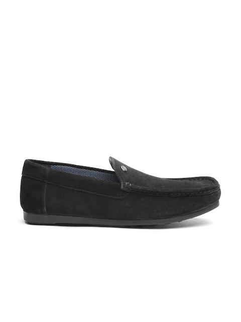 Carlton London Men Black Suede Loafers