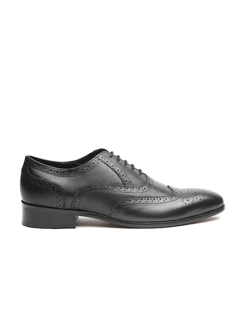 Carlton London Men Black Leather Formal Brogues