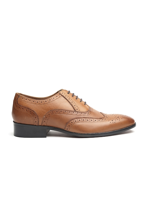 Carlton London Men Tan Brown Leather Semiformal Brogues