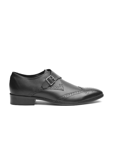 Carlton London Men Black Leather Semiformal Monks