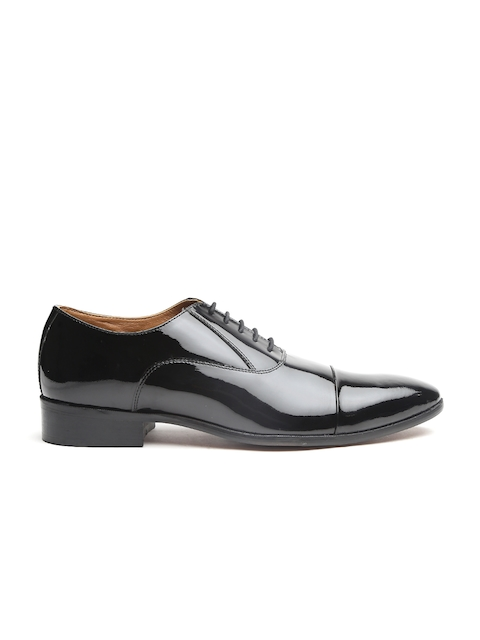 Carlton London Men Black Leather Formal Oxfords