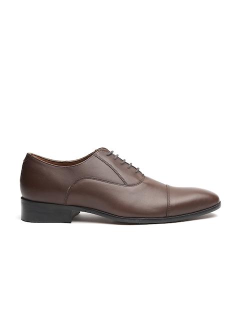 Carlton London Men Coffee Brown Leather Formal Oxfords