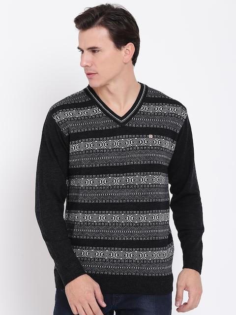 Duke Men Black & Grey Melange Striped Pullover