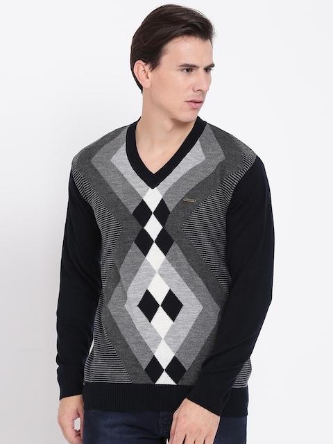 Duke Men Black & Grey Argyle Patterned Sweater