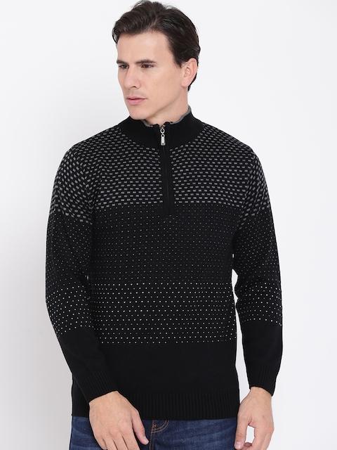Duke Men Black & Grey Self-Design Sweater