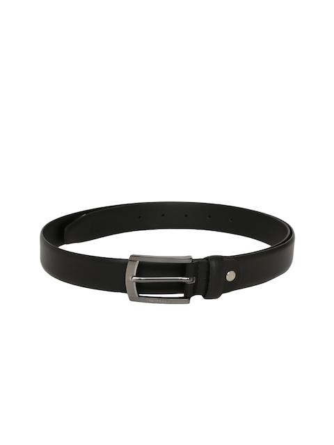 Peter England Men Black Solid Leather Belt