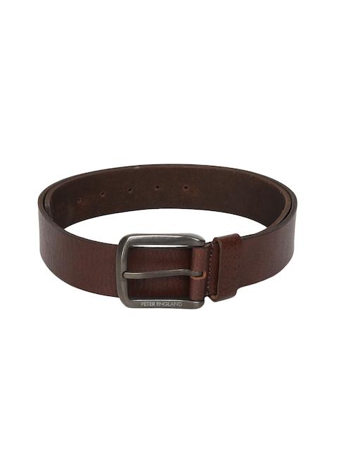 Peter England Men Brown Solid Leather Belt