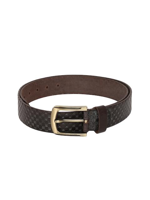 Peter England Men Brown Textured Leather Belt
