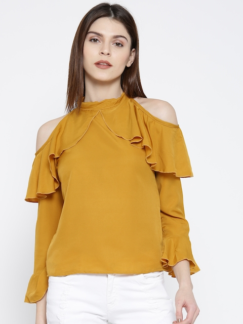 U&F Women Mustard Yellow Solid Ruffled Top