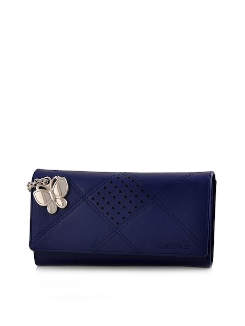 Butterflies Women Blue Solid Two Fold Wallet