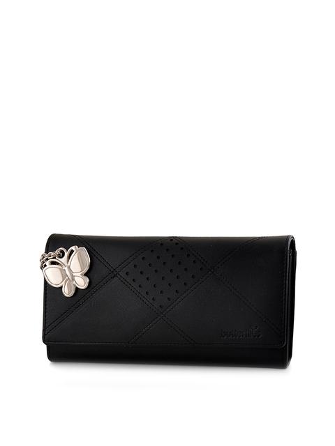 Butterflies Women Black Solid Two Fold Wallet