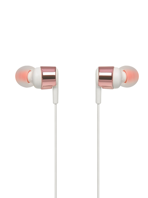 JBL Unisex Rose Gold-Toned & Orange In-Ear Headphones T210