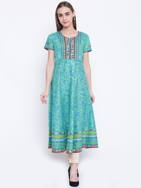 Biba Women Green & Blue Printed Anarkali Kurta  available at myntra for Rs.1079
