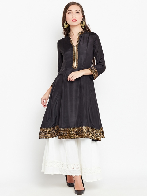 Biba Women Black Solid Anarkali Kurta  available at myntra for Rs.779