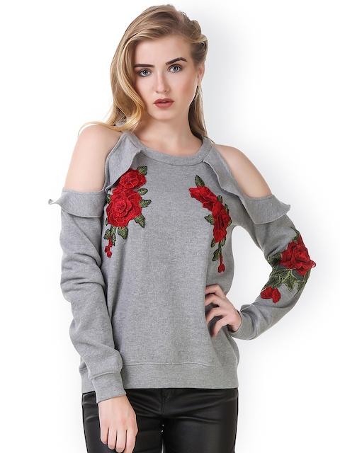 Texco Women Grey Solid Sweatshirt